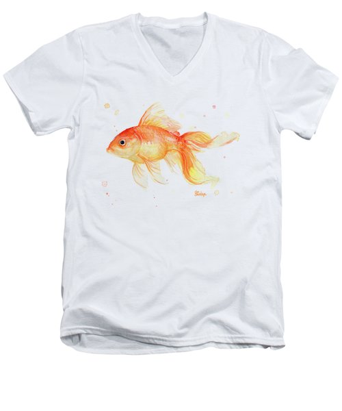 Goldfish Painting Watercolor Men's V-Neck T-Shirt