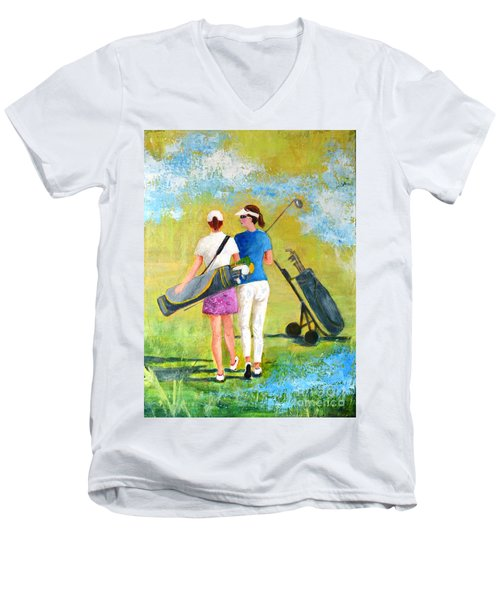 Golf Buddies #1 Men's V-Neck T-Shirt by Betty M M Wong