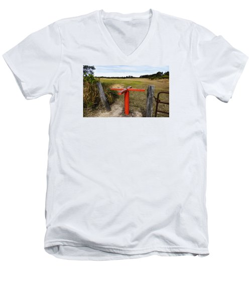 Men's V-Neck T-Shirt featuring the photograph Golf Range 01 by Kevin Chippindall