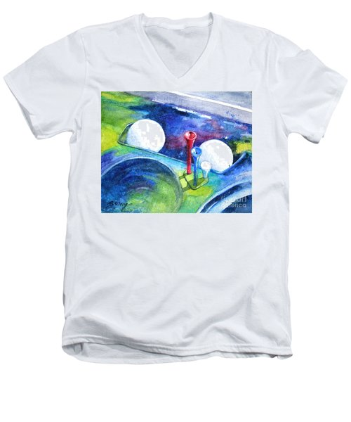 Golf Series - Back Safely Men's V-Neck T-Shirt by Betty M M Wong