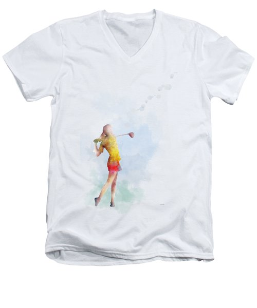 Golfer Men's V-Neck T-Shirt by Marlene Watson