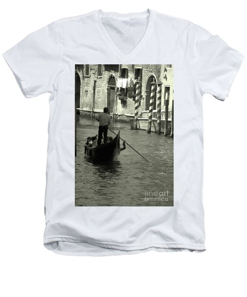 Gondolier In Venice   Men's V-Neck T-Shirt