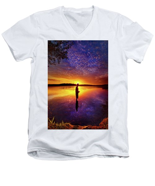 Men's V-Neck T-Shirt featuring the photograph Gone Fishing by Phil Koch