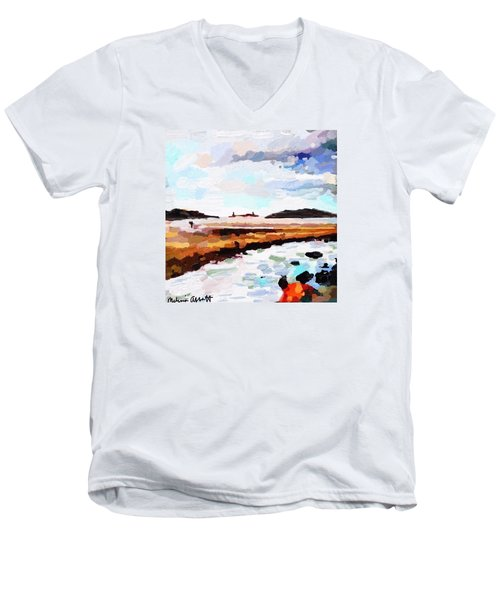 Good Harbor Beach, Salt Island, And Thatcher's Island Men's V-Neck T-Shirt