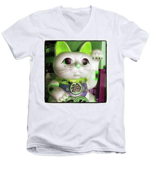 Men's V-Neck T-Shirt featuring the photograph Good Meowning. I Feel So Lucky Today by Mr Photojimsf