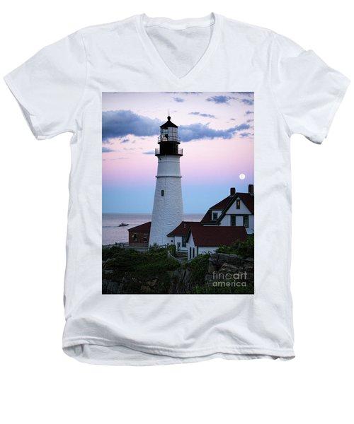 Goodnight Moon, Goodnight Lighthouse  -98588 Men's V-Neck T-Shirt by John Bald