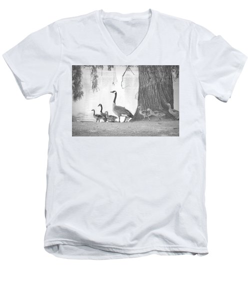 Men's V-Neck T-Shirt featuring the photograph Goose Family  by Clarice Lakota