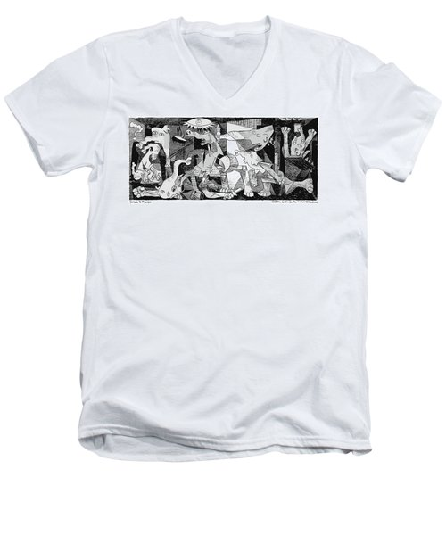 Men's V-Neck T-Shirt featuring the drawing Gop Guernica by Daryl Cagle