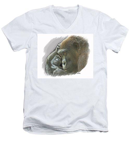 Gorilla Mother Men's V-Neck T-Shirt