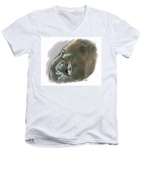 Gorilla Mother Men's V-Neck T-Shirt