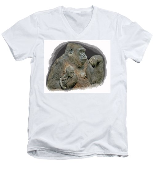 Gorilla Motherhood Men's V-Neck T-Shirt