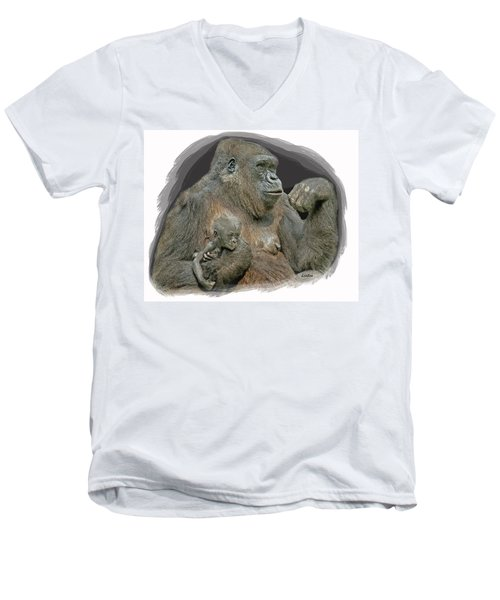 Gorilla Motherhood Men's V-Neck T-Shirt