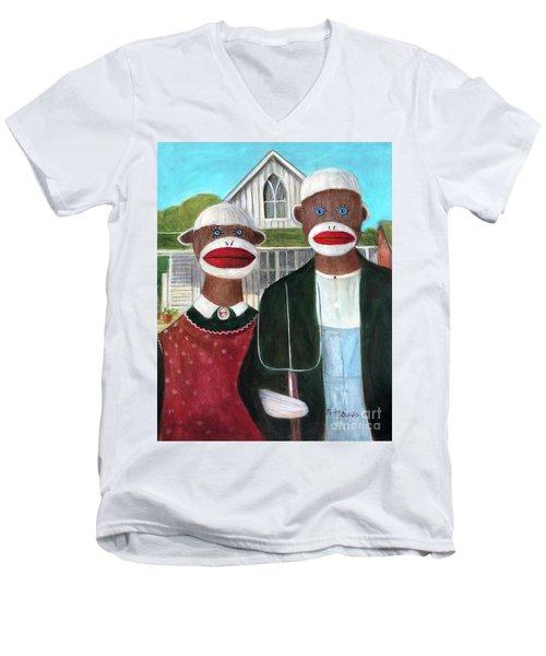 Gothic American Sock Monkeys Men's V-Neck T-Shirt