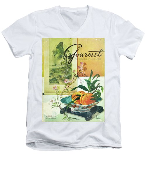 Gourmet Cover Featuring A Bowl Of Peaches Men's V-Neck T-Shirt