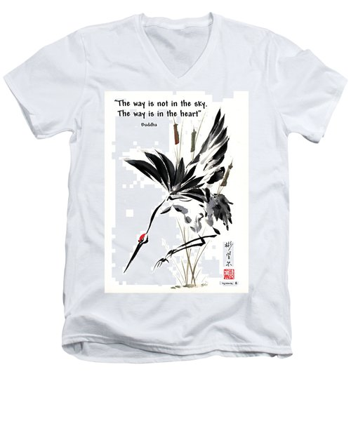 Grace Of Descent With Buddha Quote I Men's V-Neck T-Shirt by Bill Searle
