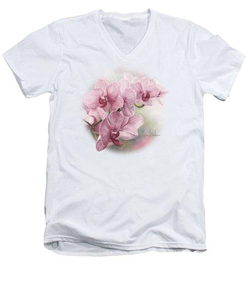 Graceful Orchids Men's V-Neck T-Shirt by Lucie Bilodeau