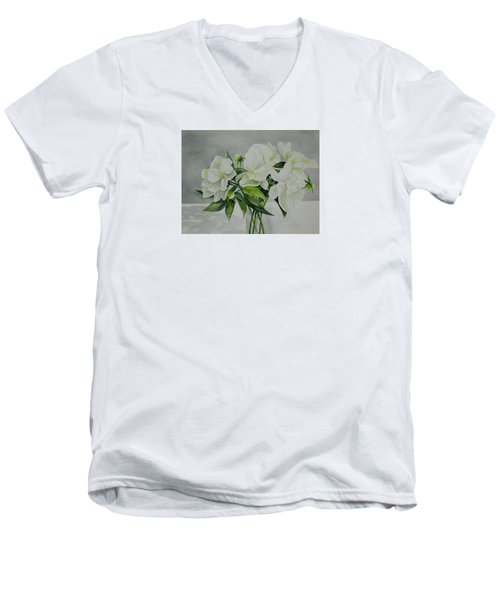 Graceful Peonies Men's V-Neck T-Shirt