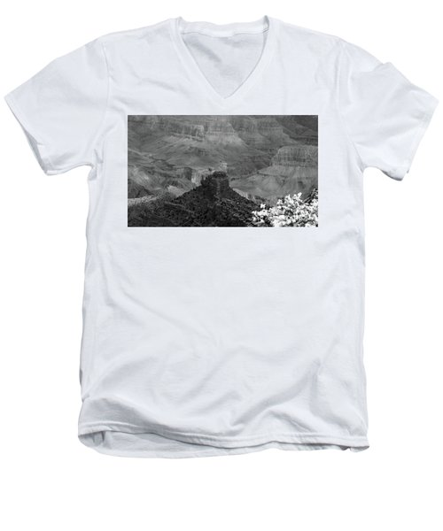 Men's V-Neck T-Shirt featuring the photograph Grand Canyon 4 In Black And White by Debby Pueschel