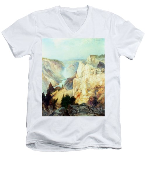 Grand Canyon Of The Yellowstone Park Men's V-Neck T-Shirt by Thomas Moran