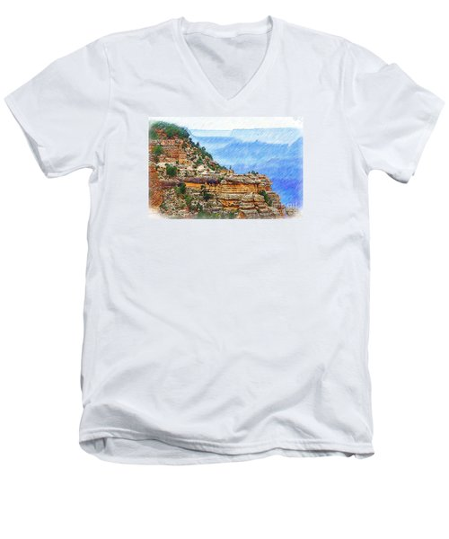 Grand Canyon Overlook Sketched Men's V-Neck T-Shirt