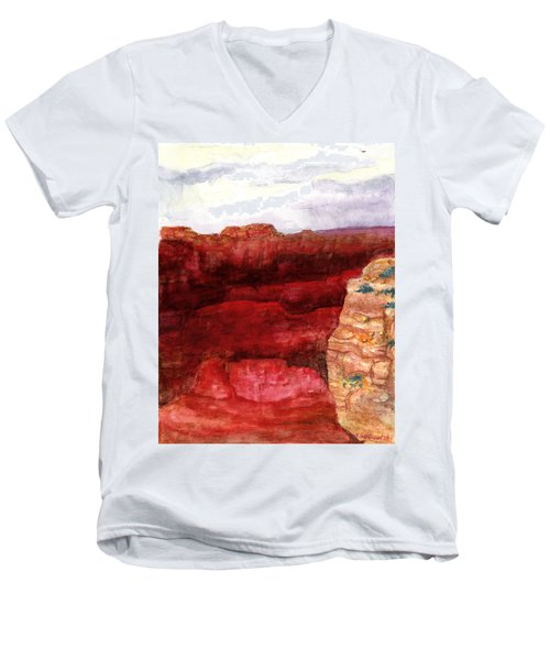 Grand Canyon S Rim Men's V-Neck T-Shirt by Eric Samuelson