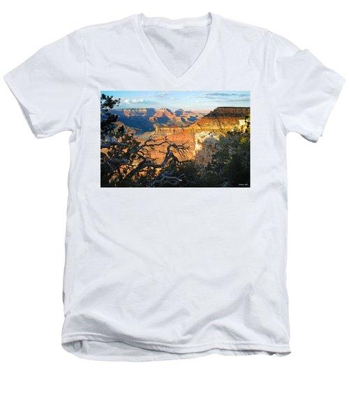 Grand Canyon South Rim - Sunset Through Trees Men's V-Neck T-Shirt