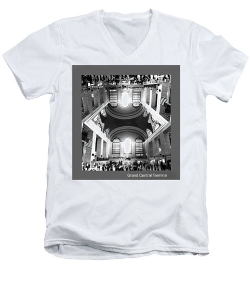Men's V-Neck T-Shirt featuring the photograph Grand Central Terminal Mirrored by Diana Angstadt