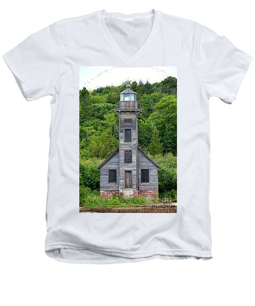 Men's V-Neck T-Shirt featuring the photograph Grand Island East Channel Lighthouse #6672 by Mark J Seefeldt