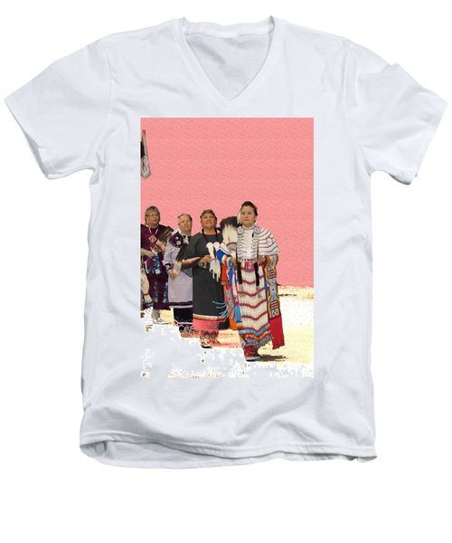 Grand Ladies Enter Men's V-Neck T-Shirt by Audrey Robillard