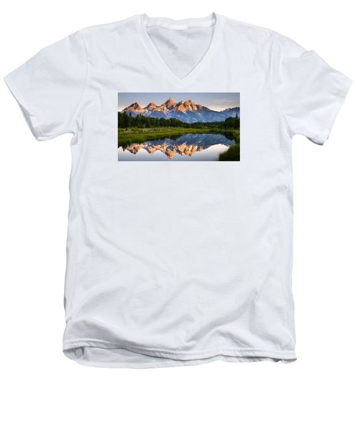 Men's V-Neck T-Shirt featuring the photograph Grand Teton Awakening by Dan Mihai