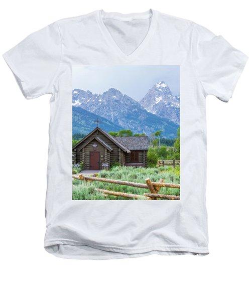 Grand Teton Church Men's V-Neck T-Shirt by Dawn Romine