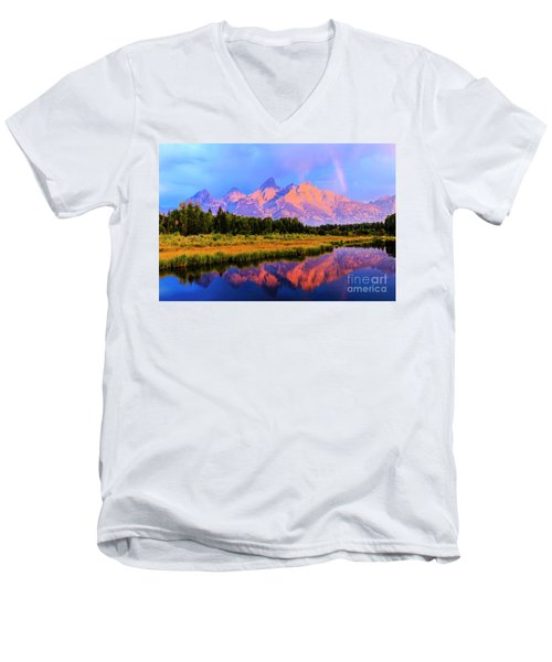 Grand Teton Sunrise Men's V-Neck T-Shirt