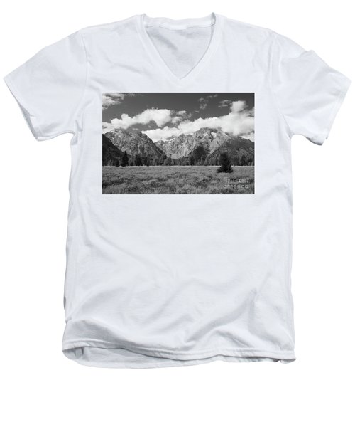 Grand Tetons In Black And White Men's V-Neck T-Shirt