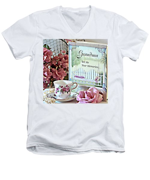 Grandma Tell Me Your Memories... Men's V-Neck T-Shirt by Sherry Hallemeier