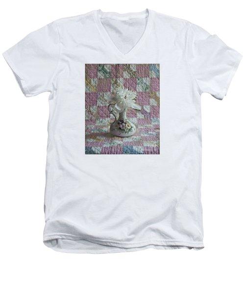 Grandmother's Vase And Her Son's Quilt Men's V-Neck T-Shirt