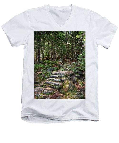 Granite Steps, Camden Hills State Park, Camden, Maine -43933 Men's V-Neck T-Shirt by John Bald