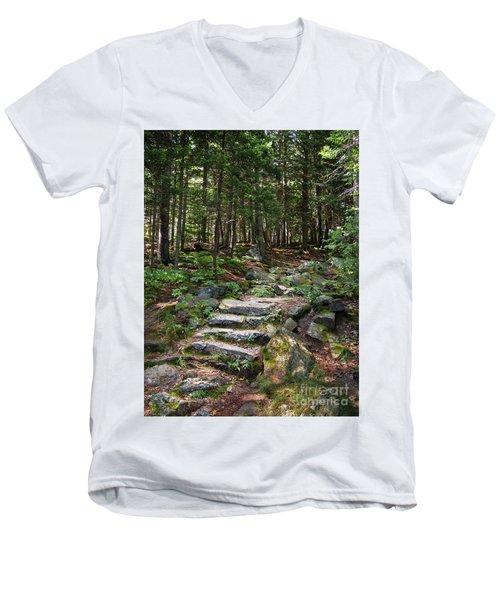 Granite Steps, Camden Hills State Park, Camden, Maine -43933 Men's V-Neck T-Shirt