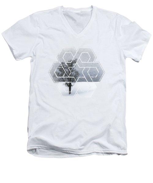 Graphic Art Wintertime Lonely Tree  Men's V-Neck T-Shirt