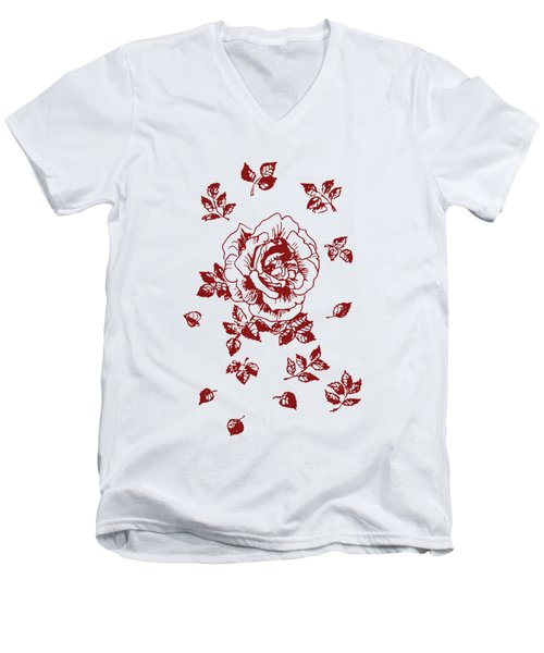 Graphic Red Rose With Leaves Men's V-Neck T-Shirt