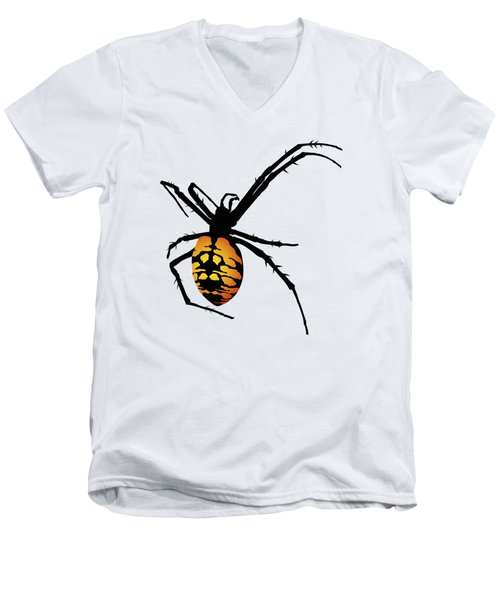 Graphic Spider Black And Yellow Orange Men's V-Neck T-Shirt