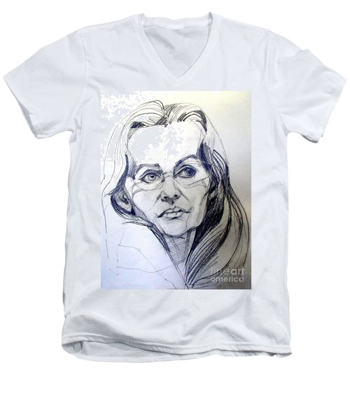Men's V-Neck T-Shirt featuring the drawing Graphite Portrait Sketch Of A Woman With Glasses by Greta Corens