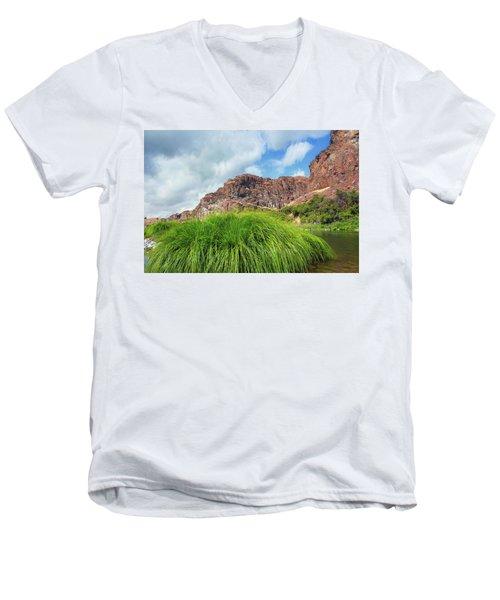 Grass Along John Day River In Central Oregon Men's V-Neck T-Shirt