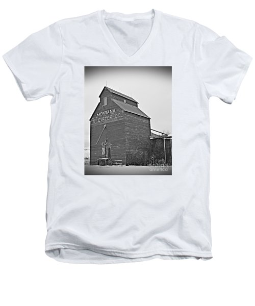 Grass Range Granary Bw Men's V-Neck T-Shirt