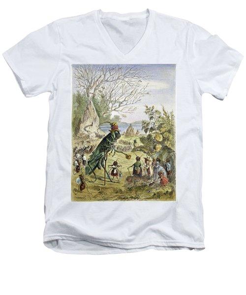 Grasshopper And Ant Men's V-Neck T-Shirt by Granger