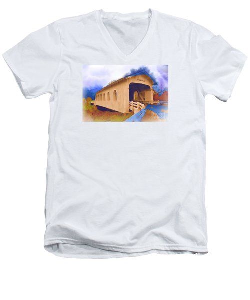 Grave Creek Covered Bridge In Watercolor Men's V-Neck T-Shirt