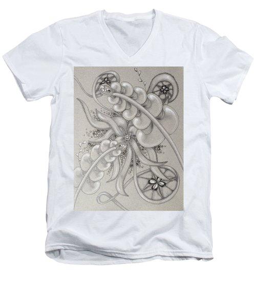 Gray Garden Explosion Men's V-Neck T-Shirt