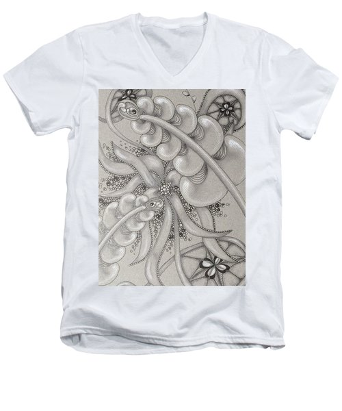 Gray Garden Explosion Men's V-Neck T-Shirt