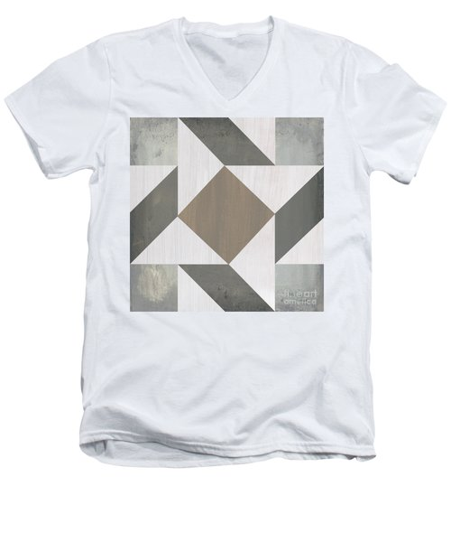 Men's V-Neck T-Shirt featuring the painting Gray Quilt by Debbie DeWitt