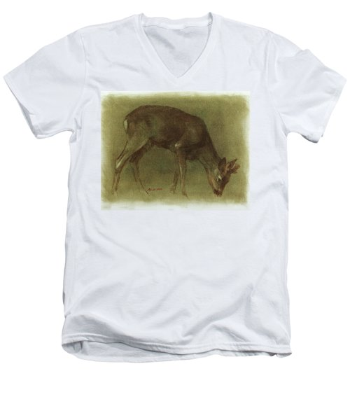 Grazing Roe Deer Oil Painting Men's V-Neck T-Shirt