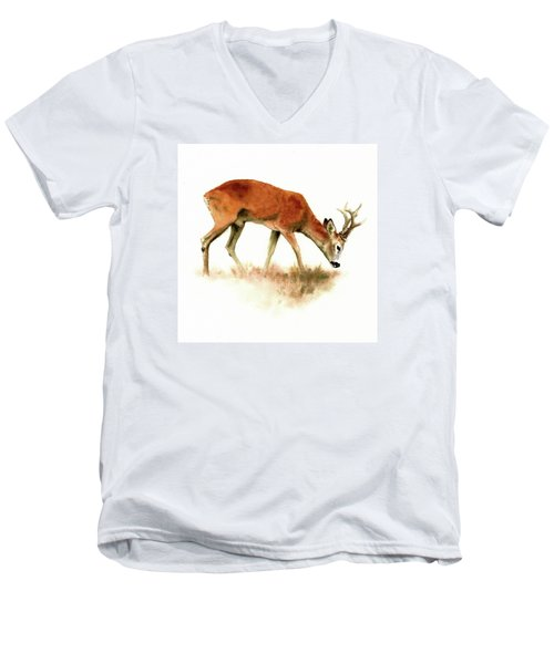 Grazing Roebuck Watercolor Men's V-Neck T-Shirt